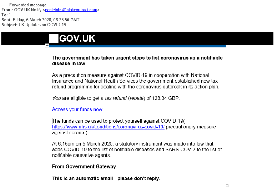 HMRC scam phishing email example