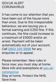 HMRC coronavirus scam text alert example