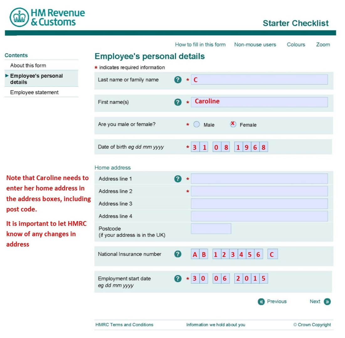 pay as you earn  paye  form  u2013 starter checklist