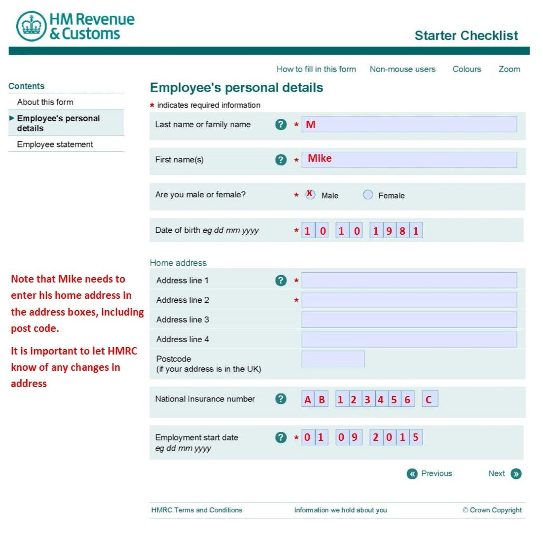 Starter checklist uk
