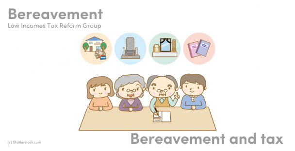 Illustration of people and icons of bereavement