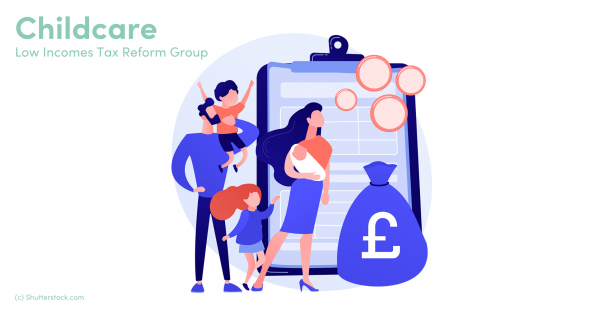 Illustration of a family in front of a clipboard