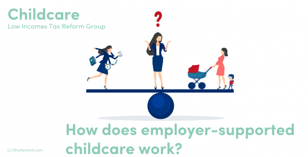 Illustration of woman on a balance with an employee and mum either side