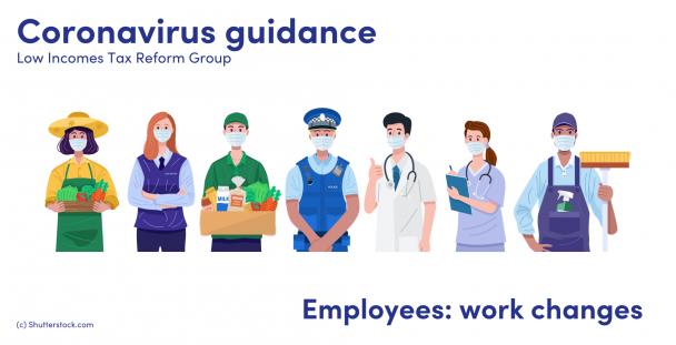 Illustration of a group of employees in different job roles wearing masks