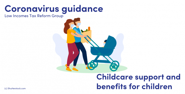 Illustration of parents wearing masks and a child in a pushchair