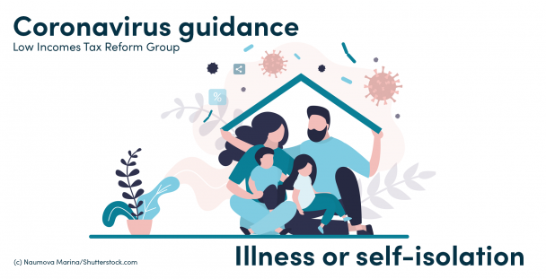 Illustration of a family under a roof shielding from germs outside