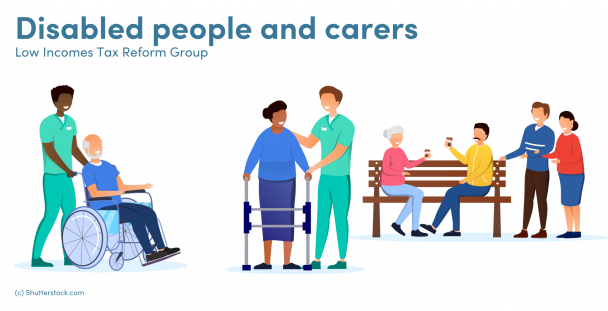 Illustration of carers and people with disabilities