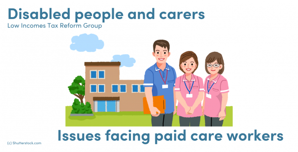 Illustration of care workers outside a care home
