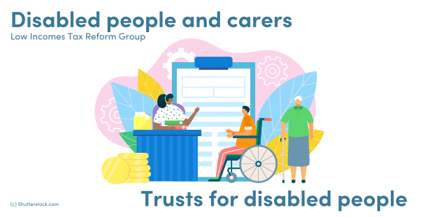 Illustration of a woman sitting at a desk, man in a wheelchair and elderly woman