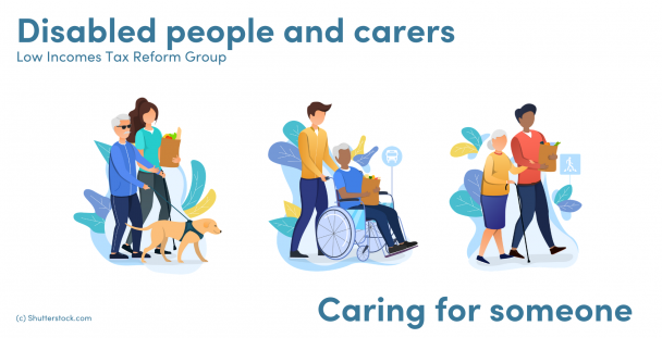 Illustration of carers and people needing assistance