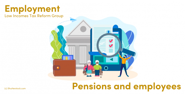 Illustration of pensioners and a man in front of a bank