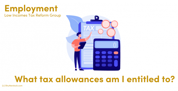 Illustration of a man next to a tax document, calculator and coins