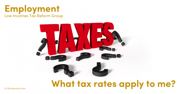 Illustration of the word taxes with question marks around it