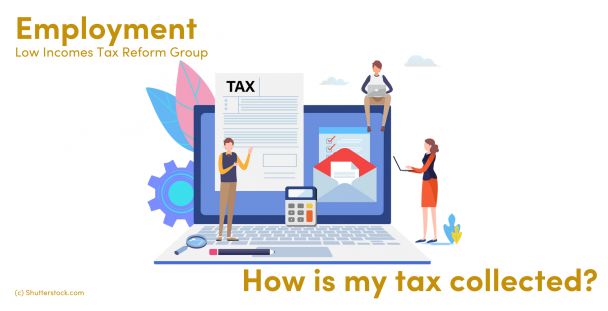 Illustration of people on a laptop with a tax document