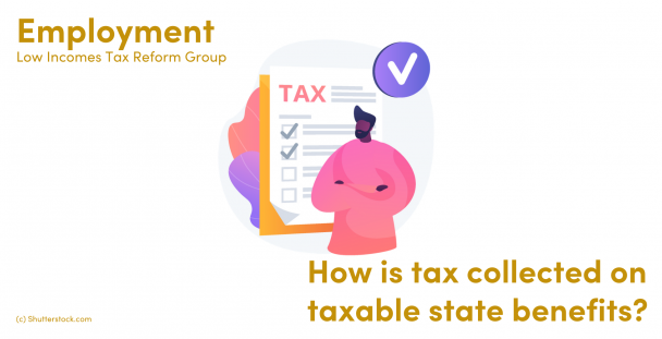 Illustration of man in front of a tax form