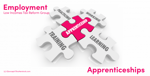 Illustration of jigsaw pieces showing the words apprenticeship, working, practicing, training