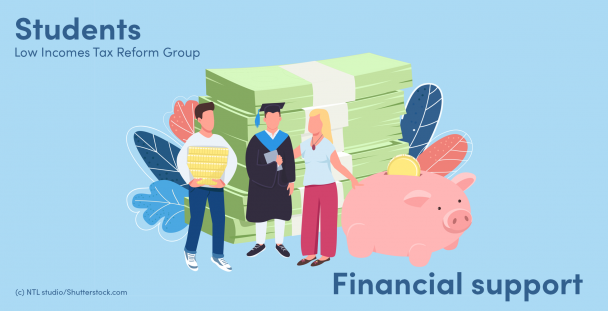 Illustration of parents and a graduate next to a piggy bank