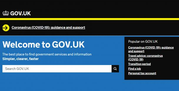 Image of the GOV.UK website home page from May 2020