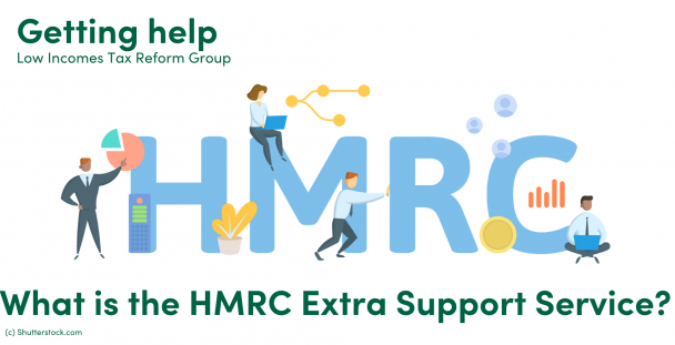 Illustration of the letters HMRC and a group of people