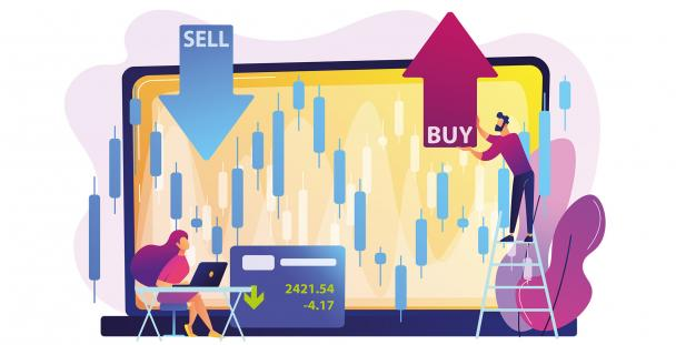 Illustration of people buying and selling shares (c) Visual Generation shutterstock_1318789793