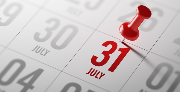 Image of a calendar highlighting 31 July