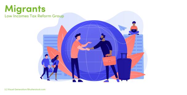 Illustration of people interacting around the world