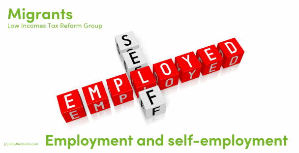 Illustration showing the words self and employed