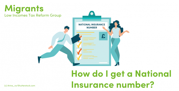 Illustration of two people next to a clipboard with the words National Insurance Number