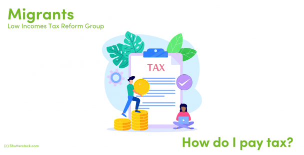 Illustration of people with a tax document and coins