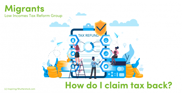 Illustration of people surrounded by a text refund sign
