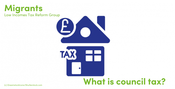 Illustration of a house, coin and the word tax