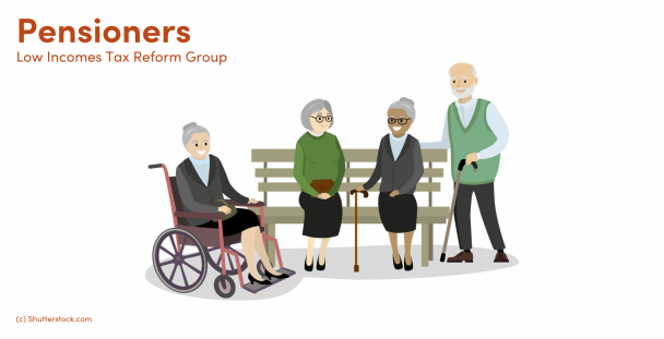 Illustration of a group of pensioners