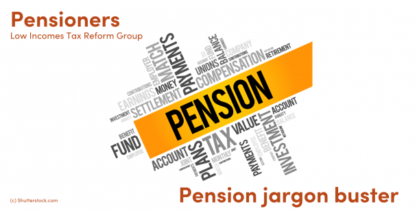 Illustration of words to do with pensions