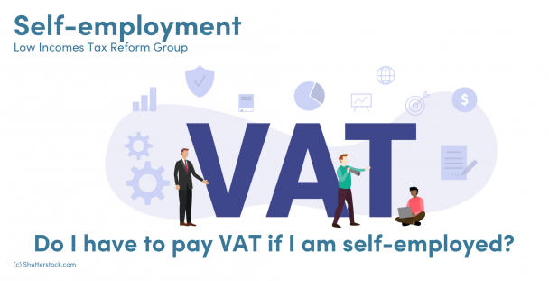 Illustration of the letters VAT with people standing and sitting around