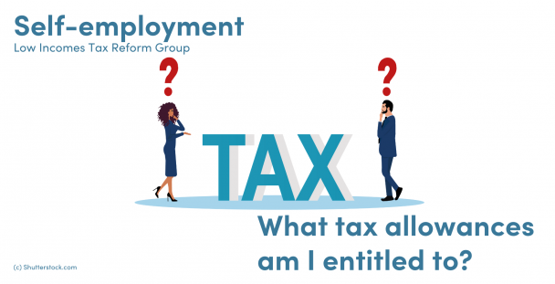 Illustration of a woman and man standing by the word tax with question marks over their heads