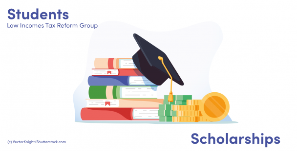 Illustration of books, graduate cap and coins