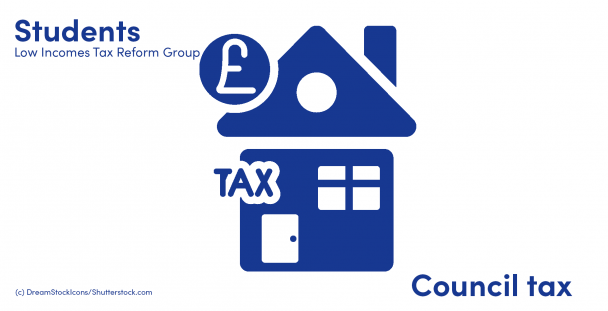 Illustration of a house, pound sign on a coin and the word tax