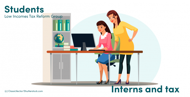 Illustration of an intern and an employee