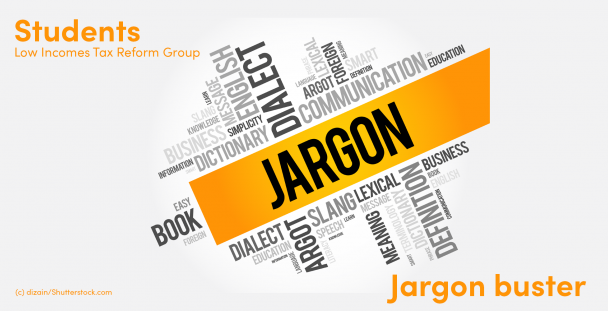Image of the word jargon surrounded by other words relating to language