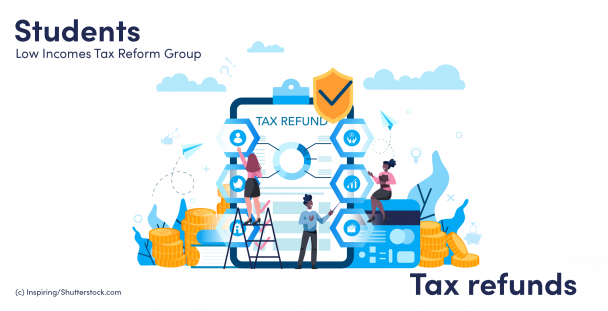 Illustration of people and a clipboard with the words tax refund written on it