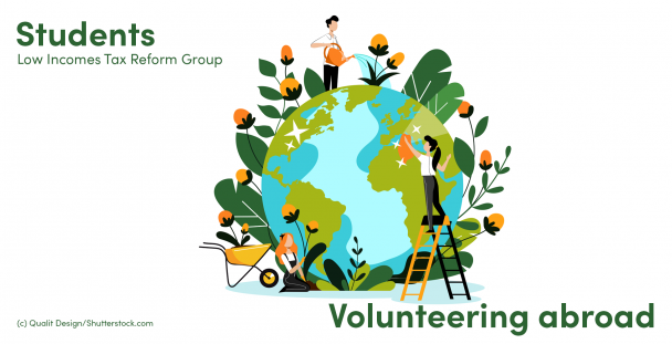 Illustration of volunteers around a globe