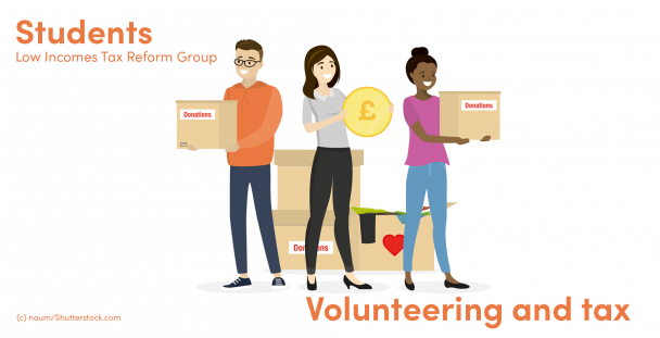 Illustration of volunteers holding boxes and money