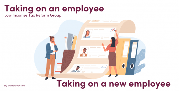Illustration of people choosing an employee from a list