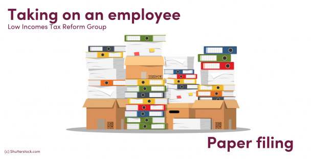 Illustration of piles of papers and folders in boxes