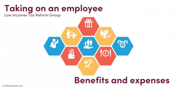 Illustration of icons representing benefits and expenses
