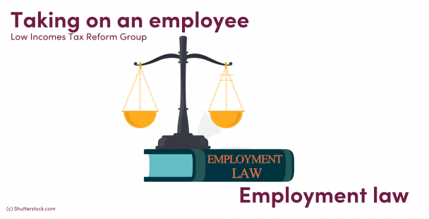Illustration of an employment law book and scales of justice