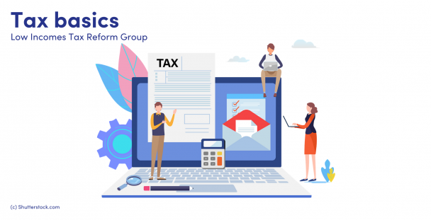 Illustration of people next to a laptop with a tax document