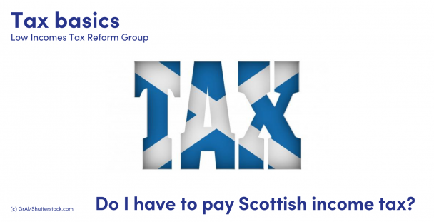 Illustration of the word tax with the Scottish flag over it