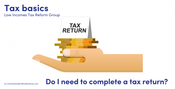 Illustration of a hand, coins and a tax return sign