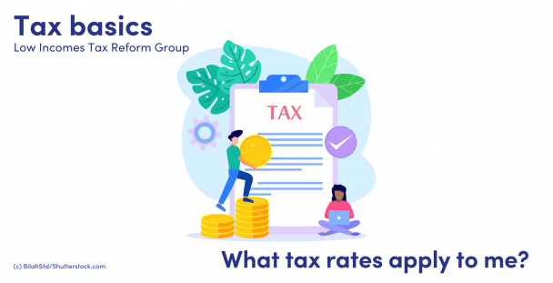 Illustration of people, coins and a tax document